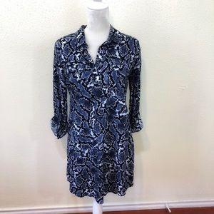 Banana Republic Blue Snake Print Long Sleeve Dress